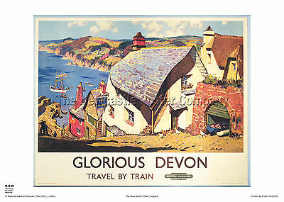 Clovelly Devon Railway Travel  Poster Retro Vintage Adverising Art Print