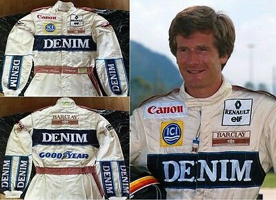 Original race used suit 1989 Thierry Boutsen Canon Williams Team Renault F1