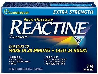 144 Tablets REACTINE Extra Strength Non-Drowsy Allergy Fast Long Lasting Relief