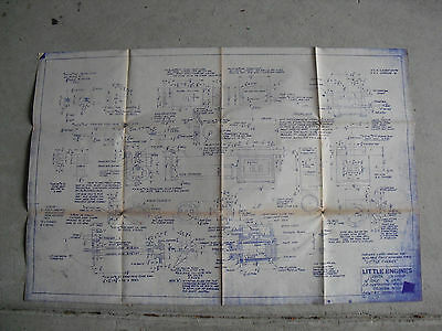 Vintage 1979 Little Engines Cylinder Block Blueprint LOOK