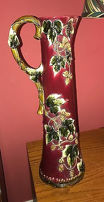 """VTG Antique Majolica Burgundy Ivy Forest In Relief EWER Pitcher 21"""" Tall"""