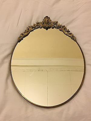 Beautiful Vintage Art Deco Brass Ornaments Wall Mirror Oval Shape Nicely Desing