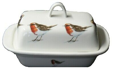 Robin red breast birds colourful porcelain traditional deep white butter dish