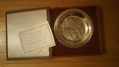 1972 FRANKLIN MINT 925 sterling CHRISTMAS PLATE THE CAROLERS BY NORMAN ROCKWELL