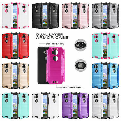 For Huawei Sensa LTE Brushed Dual Layer Slim Armor Hybrid Cover Case
