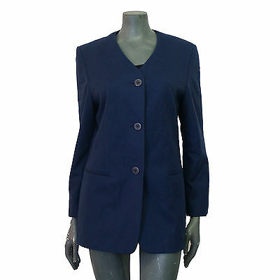Vintage 1980s Navy Blue Soft Lambswool Wool Boyfriend Blazer Jacket 12 14