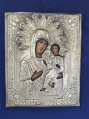 Antique Russian Hand Painted Icon Virgin of Tichvin 19 th. century
