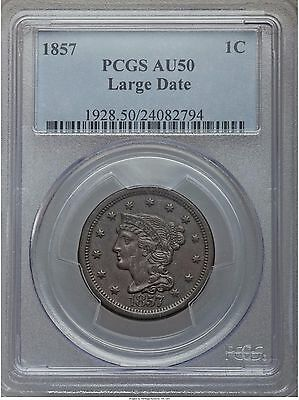 1857 Braided Hair Large Cent, N-1, Large Date, PCGS AU-50