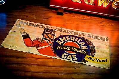 American Gas Station Banner 1930's 40's Norman Rockwell Automobile WWII Era Oil
