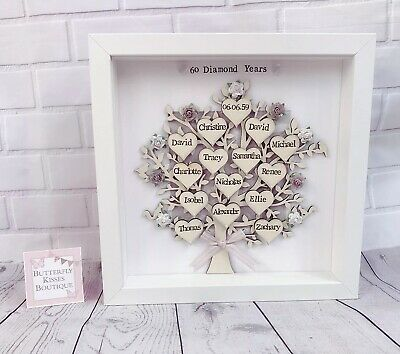 Personalised Family Tree Gift Golden Wedding 50th Anniversary Grandparents 🎁
