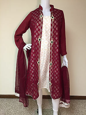 Pakistani Indian Pearl Salwar Kameez Party Wear Embroidery Wedding Bridal S M