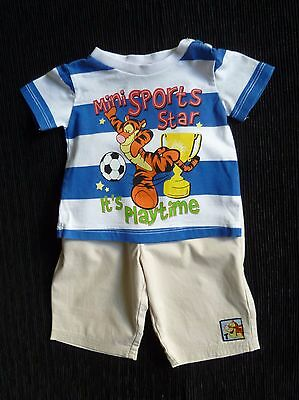Baby clothes BOY 0-3m outfit trousers/t-shirt Disney Tigger blue/white/coffee