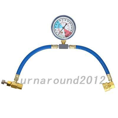 HOT Car Air Conditioning Refrigerant Recharge Measuring Kit Hose Gauge R134A