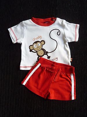 Baby clothes BOY 0-3m outfit white/redmonkey t-shirt/red shorts Babble Boom/Baby