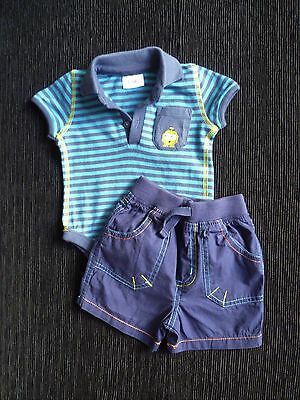 Baby clothes BOY 0-3m outfit F&F Navy/blue stripe polo-style bodysuit&shorts