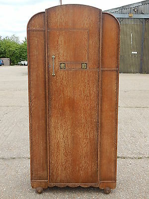 Vintage art deco dome top oak single door wardrobe with ornate panels & carved