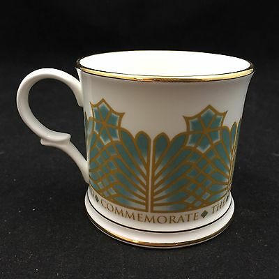Vintage Mug To Commemorate The Restoration Of Windsor Castle-White W/ Gold Trim