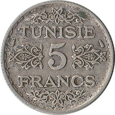 1934 (AH 1353) Tunisia (French) 5 Francs Silver Coin KM#261