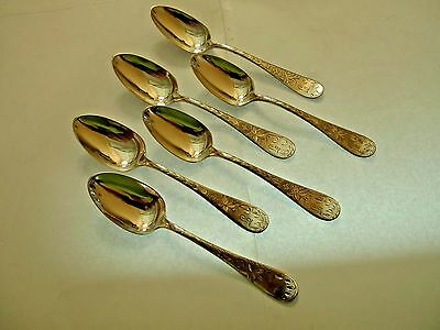 """Vintage Hand Engraved Set Of 6 Coin Silver Tea Spoons """"geo E Myer""""  **1860**"""