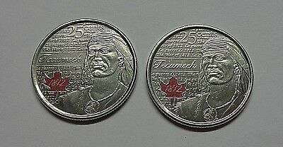 2 X Canada 2012 - Coloured 25 Cents - War of 1812 Coin -  Chief Tecumseh