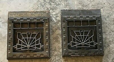 2 Vintage Wall Furnace Heat Register Vent Cover Grate Metal Cast Iron