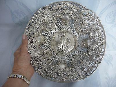 BEAUTIFUL ORNATE SILVER PLATE BOWL w/REPOUSSE & PIERCED WORK, BASKETS & FLOWERS