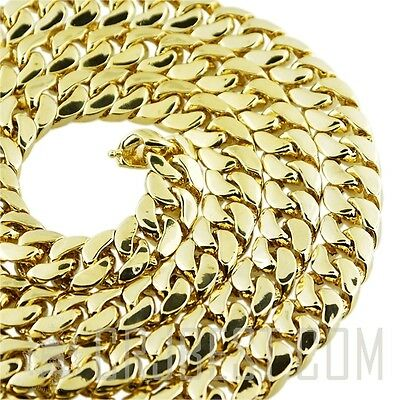 "New mens  choker necklace miami cuban link 14K gold Plated 14mm 18"" 20"" 22"" 24"""