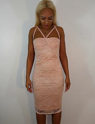 Womens Ladies Sleeveless Pink Midi Dress Lace Bodycon Strappy Size 10,14