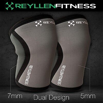 UK Reyllen Crossfit Powerlifting Strongman Lifting Knee Sleeves Support 5mm 7mm