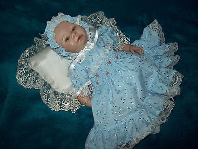 Reborn dolls clothes BLUE BRODERIE ANGLAISE DRESS SET  17-18