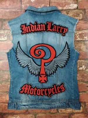 Set Of 3 Jacket Vest Biker Sew-On Patch Indian Larry Motorcycles Red Grey