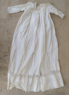 """Antique Victorian* Baby Christening gown* lace & cotton* 32.5"""" long* as is*"""