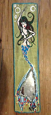 NOR Brunette Mermaid With Green Highlights Folk Art Painting on Wood