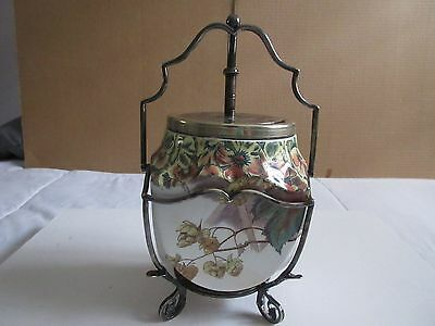 Antique 1894 Rare Porcelain Biscuit Jar - Separate Top & Base (Silver Plate?)