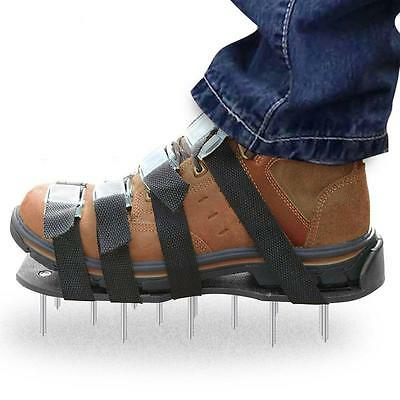 Lawn Aerator Shoes Metal Buckles 4 Straps Heavy Duty Spiked Sandals Aerating...