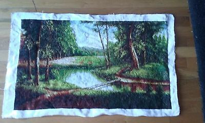 hand made embroidery cross forest picture without frame