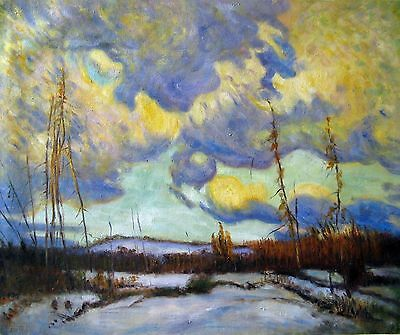 Group of Seven J.E.H. MacDonald March Evening, Northland Oil Painting repro