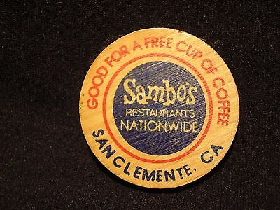 "SAMBO'S San Clemente, CA ""Free Cup Of Coffee"" BICENTENNIAL WOODEN NICKEL"