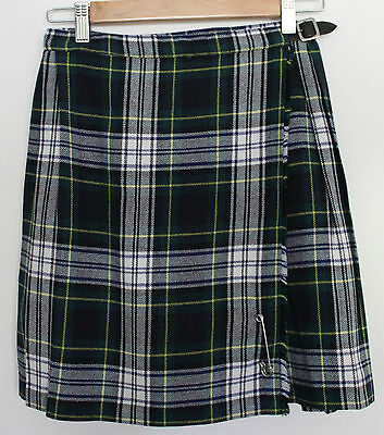VINTAGE 1970'S Debenhams Girls Acrylic Wool Gordon Tartan Kilt Skirt ~ 10