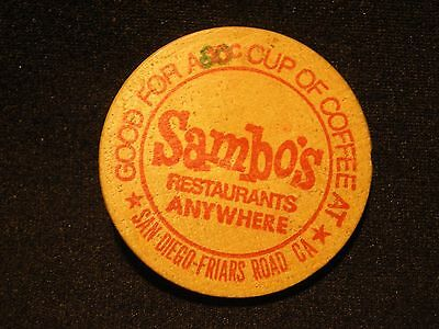 "SAMBO'S San Diego-Friars Rd, CA  ""Good For A 10c Cup Of Coffee At"" WOODEN NICKEL"