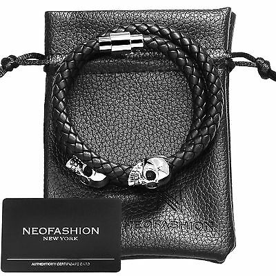 Men's Twin Skull, Premium Nappa Leather Braided Bracelet - Any Size - Magnetic