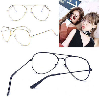 VINTAGE CLASSIC RETRO AVIATOR Gold Silver Clear Lens Metal Frame Glasses New