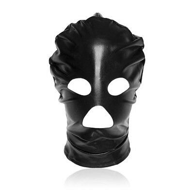 Spandex With Latex Full Head Hood Mask Open Mouth & Eyes 3 Holes Black