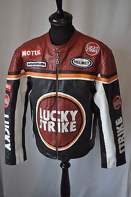 "Vintage Lucky Strike leather motorcycle racing jacket size large 42"" monza biker"