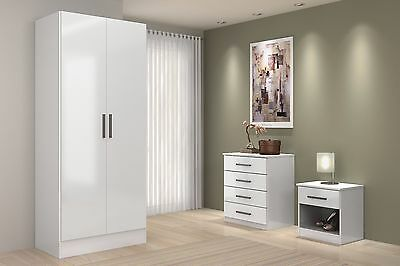 White High Gloss Bedroom Furniture Sets 3 Piece Wardrobe Drawers Chest & Bedside