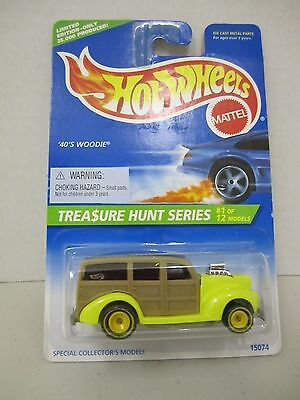 1996 Hot Wheels Treasure Hunt 40'S WOODIE Yellow Rims Limited Edition