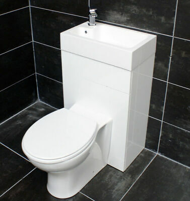 Combination Back To Wall Pan & Basin Vanity Unit Set Cloakroom Space Saving