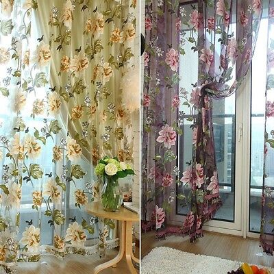 Door Window Panel Room Divider String Curtain Sheer Strip Floral Tulle Panel
