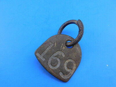 Vintage Antique Brass Cow Tag 169 Marker Double Sided Farm Ranch Animal