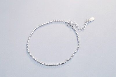 New! Solid 925 Sterling silver Simple Beads Chain Bracelet + Gift bag